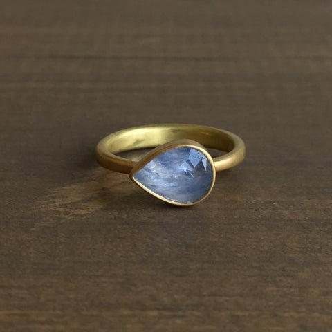 Lola Brooks Tear Drop Natural Periwinkle Sapphire Ring