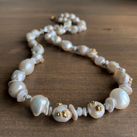 Hannah Blount Abstract Freshwater Pearl Necklace with Barnacles
