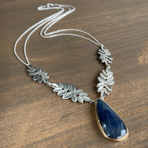 Katie Carder Large Blue Sapphire Drop Necklace