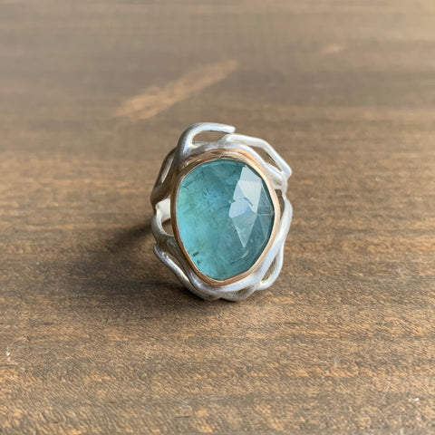 Hannah Blount Aquamarine River Branch Waiting Ring