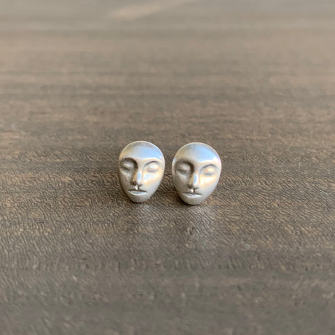 Hannah Blount Little Silver Cameo Studs