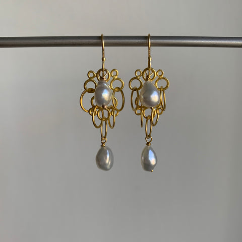Rosanne Pugliese Gold Florette Earrings with Keshi Pearl Drops