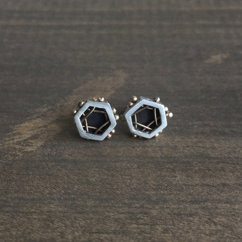 Aliyah Gold Woven Hex Studs