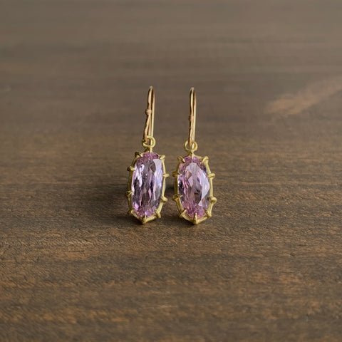 Rosanne Pugliese Faceted Kunzite Oval Earrings