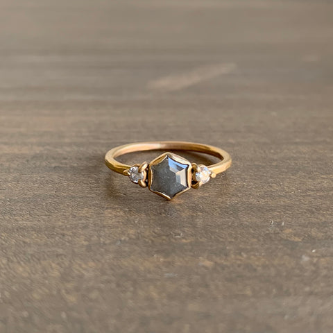 Katie Carder Juniper Ring with Grey Hexagon Diamond