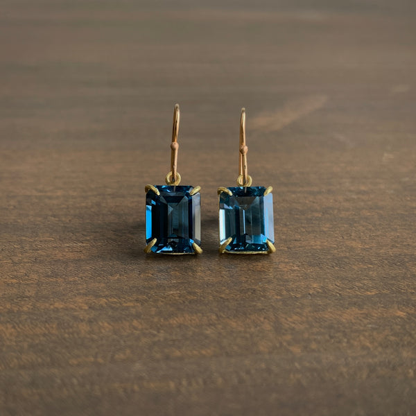 Rosanne Pugliese Small Emerald Cut London Blue Topaz Earrings