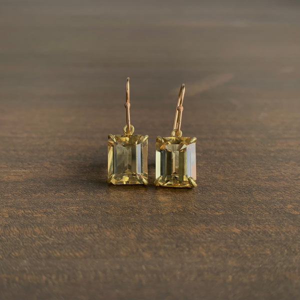 Rosanne Pugliese Small Emerald Cut Champagne Citrine Earrings