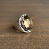S. Yamane Carved Smoky Quartz Lunette Ring