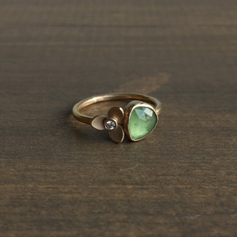 Katie Carder Mini Trillium and Watermelon Tourmaline Ring