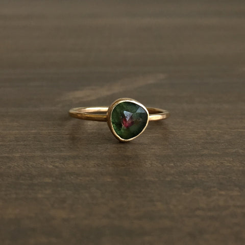 Katie Carder Watermelon Tourmaline Rounded Trillium Ring