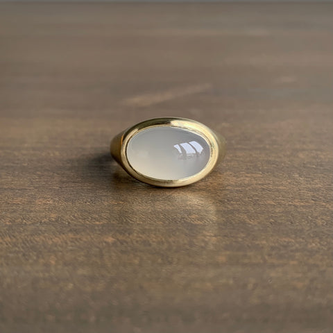 S. Yamane Light Domed Agate Slab Ring