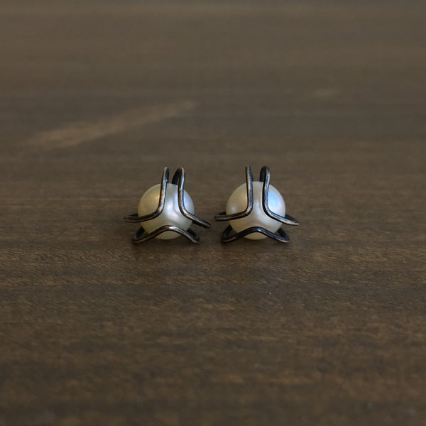 Katie Carder Oxidized Silver Caged Pearl Studs