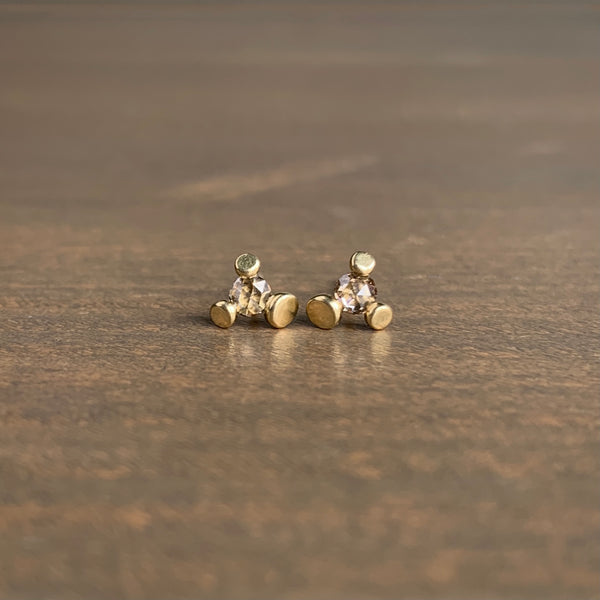 S. Yamane Medium Champagne Rose Cut Diamond Floret Stud Earrings