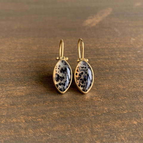 Monika Krol Small Montana Agate Marquise Earrings