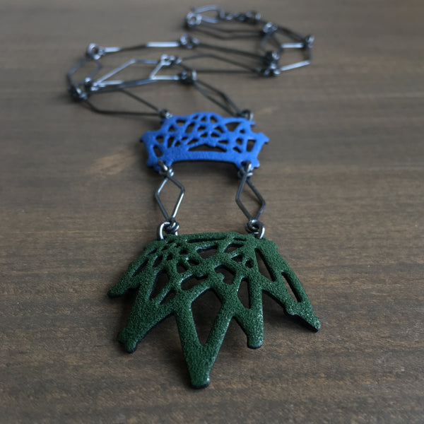 Joanna Nealey Double Stick & Stone Crown Necklace in Harvest Blue / Mistletoe Green
