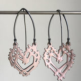 Joanna Nealey Heart Stick & Stone Earrings in Pale Pink