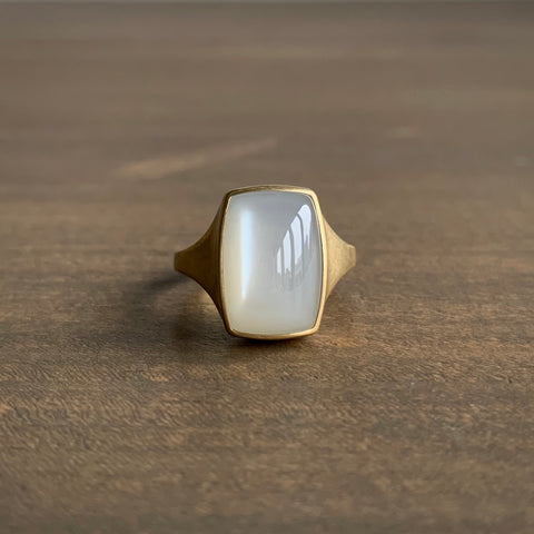 Monika Krol Rounded Rectangle White Moonstone Cast Ring