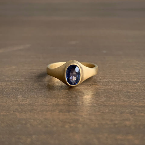 Monika Krol Dark Blue Oval Sapphire Mini Cathedral Ring