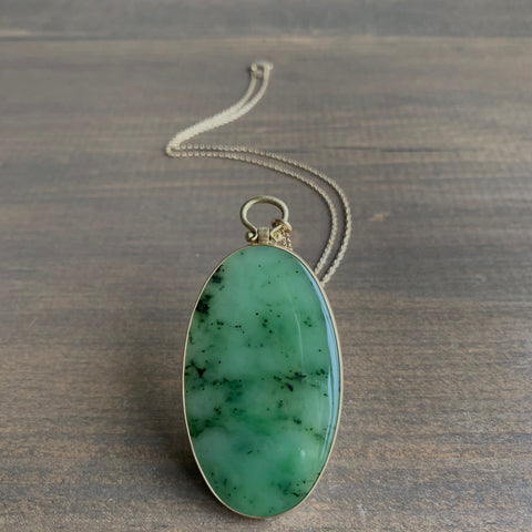 Monika Krol Large Oval Russian Jade Slice Pendant