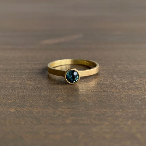 Monika Krol Green/Blue Round Sapphire Stacking Ring