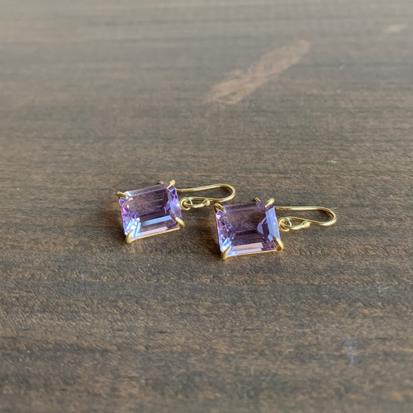 Rosanne Pugliese Emerald Cut Lavender Amethyst Earrings