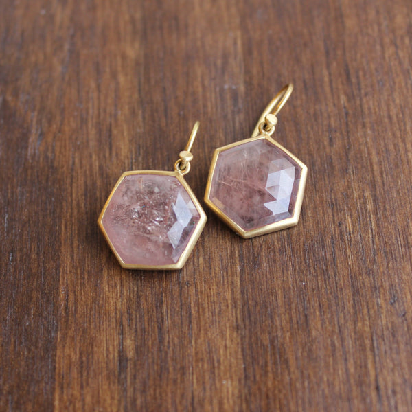Lola Brooks 18k Gold and Natural Pink Sapphire Hexagon Earrings