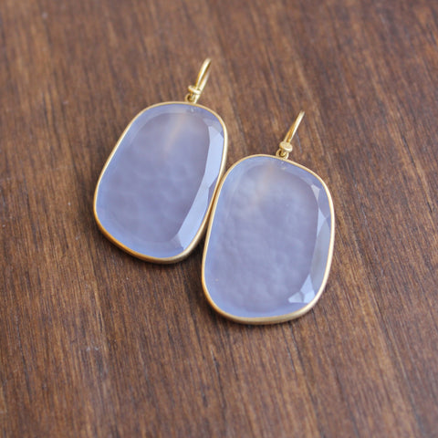 Lola Brooks 18k Gold and Natural Chalcedony Earrings