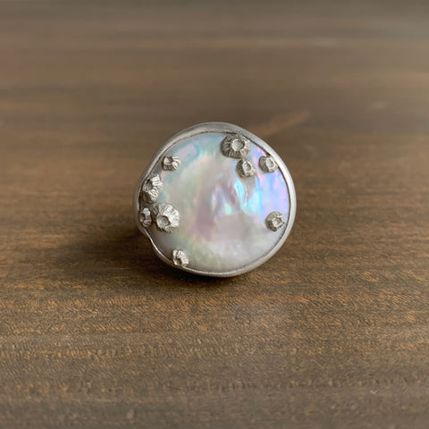 Hannah Blount Large Coin Pearl Ring with Barnacles