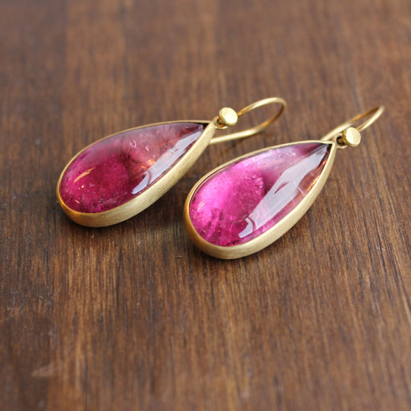 Lola Brooks 18k Gold and Pink Tourmaline Drop Earrings