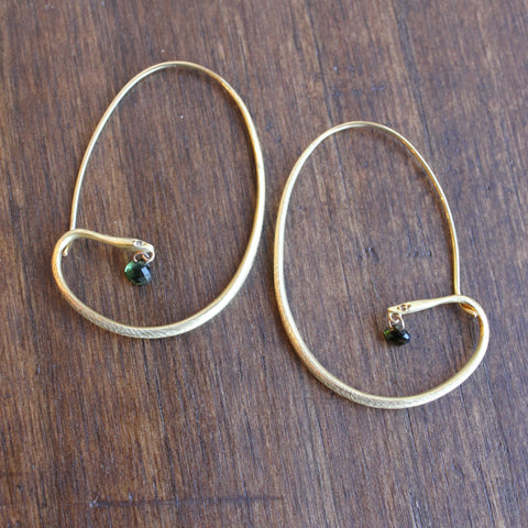 Gabriella Kiss Snake Hoops in 18k Gold with Diamonds and Green Tourmaline Drops