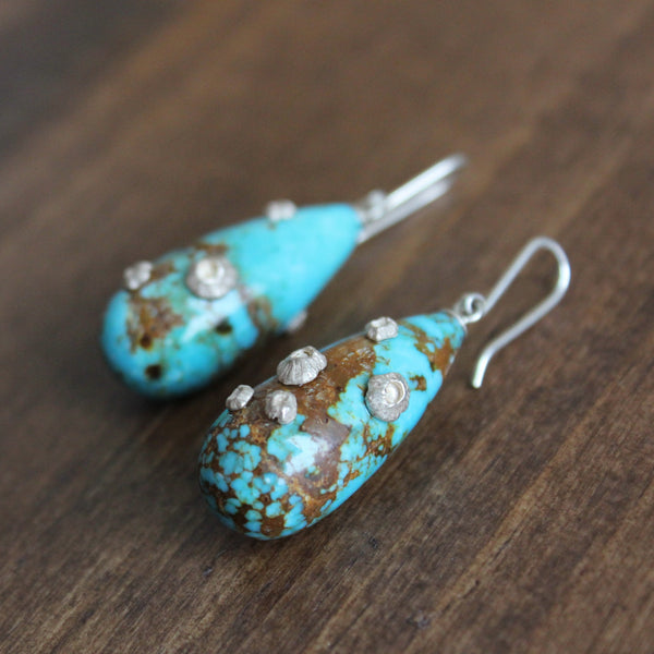 Hannah Blount Turquoise Buoy Earrings with Silver Barnacles