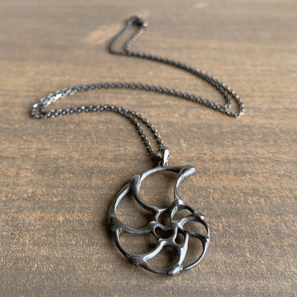 Rachel Atherley Small Oxidized Silver Open Ammonite Pendant