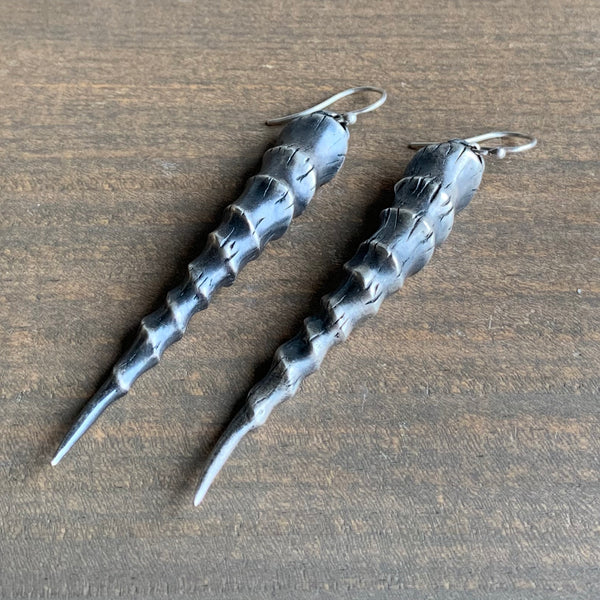 Rachel Atherley Large Antiqued Silver Gazelle Horn Earrings