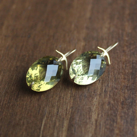 Gabriella Kiss 18k Gold and Olive Quartz Earrings