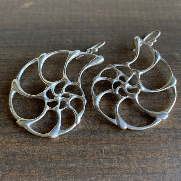 Rachel Atherley Large Silver Open Ammonite Earrings