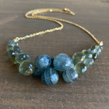 Rachel Atherley Moss Aquamarine Caviar Scoop Necklace