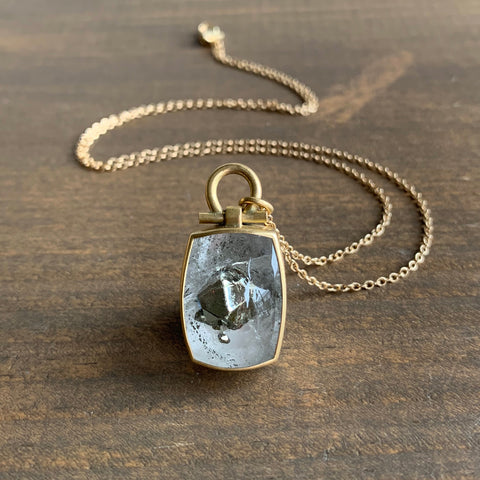 Monika Krol Pyrite in Quartz Pendant