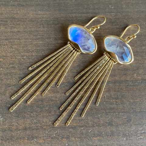 Rachel Atherley Rainbow Moonstone Jellyfish Earrings
