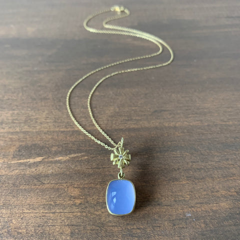 Judi Powers Narcissus Pendant with Mojave Blue Chalcedony Drop