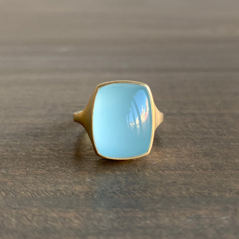 Monika Krol Rounded Rectangle Aquamarine Cast Ring