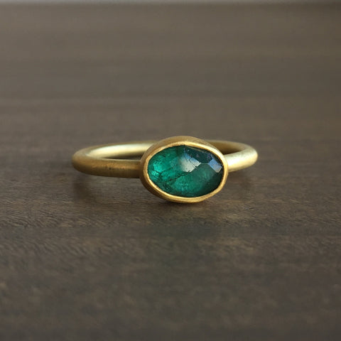 Heather Guidero Small Faceted Oval Emerald Ring