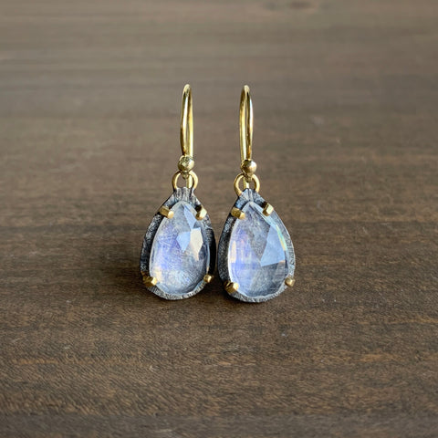 Heather Guidero Carved Prong Set Rainbow Moonstone Teardrop Earrings