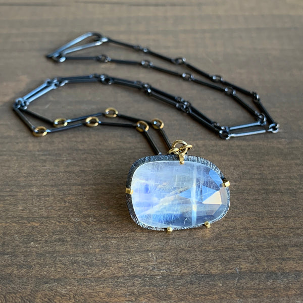 Heather Guidero Carved Prong Set Rainbow Moonstone Necklace
