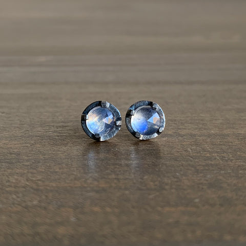 Heather Guidero Prong Set Rainbow Moonstone Studs