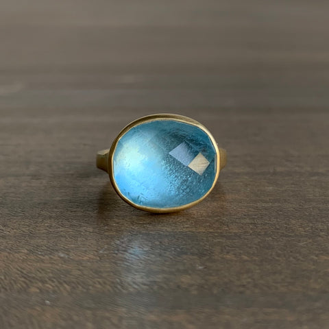 Monika Krol Oval Faceted Aquamarine Cast Ring