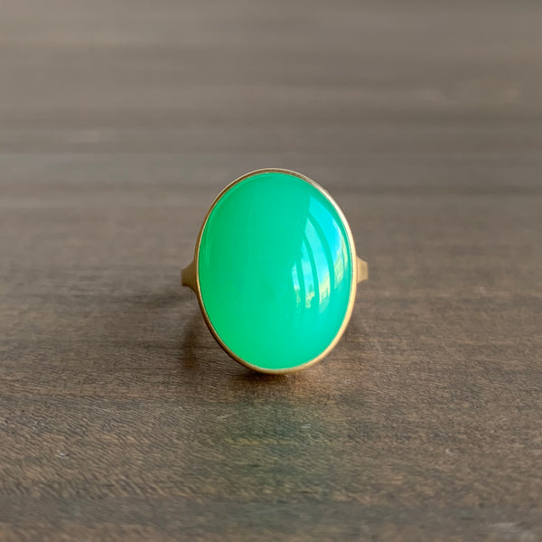 Monika Krol Oval Chrysoprase Cast Ring
