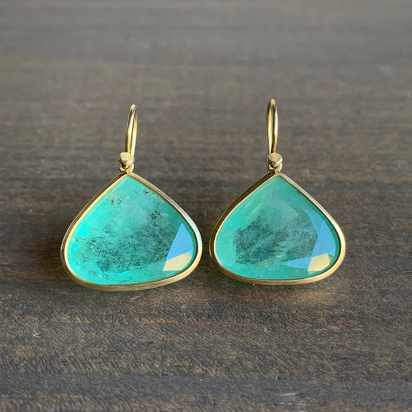 Lola Brooks 18k Gold and Emerald Tear Earrings