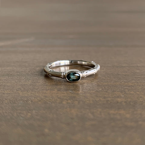 Mimi Favre Platinum Bamboo Ring with Umbra Sapphire