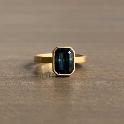Lola Brooks Emerald Cut Australian Teal Sapphire Ring