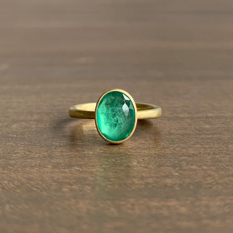 Lola Brooks Oval Rose Cut Emerald Ring